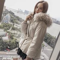 大毛领女冬季加厚棉衣2018新款韩版收腰燕尾短款ins棉袄外套