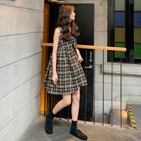 春秋2019新款流行裙子韩版显瘦无袖背心裙A字裙高腰格子连衣裙女