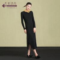 生活在左2018新款秋冬女装气质文艺纯羊毛针织修身连衣裙显瘦长裙