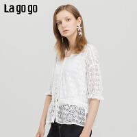 Lagogo/拉谷谷2019年夏季新款时尚女镂空淑女风衬衫IACC394C21