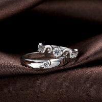 开口情侣戒指一对价男女925银配饰品刻字 创意饰品