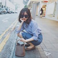 娇小女装港味复古衬衫上衣配裙子chic两件套装时尚潮2018新品 蓝色条纹衬衫+牛仔包臀半身裙