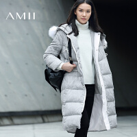 【满200减100 上不封顶】AMII[极简主义]冬新温暖抽绳连帽貉子毛羽绒服女11683099