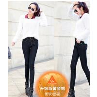 新款潮流弹力排扣裤子 女高腰保暖加绒加厚牛仔裤 时尚小脚长裤