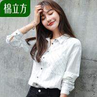 棉麻白色衬衫女长袖秋装2018新款棉立方宽松衬衣韩版chic上衣慵懒