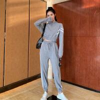 短款polo领卫衣女+高腰休闲运动裤女时尚夏装2019新款套装两件套