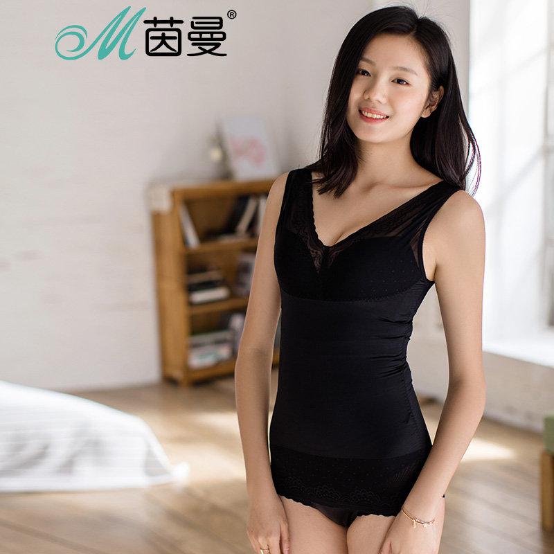 包邮 茵曼内衣 修身性感透视网纱蕾丝 v领露背显瘦束身上衣 9872503223