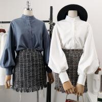 №【2019新款】冬天时尚美女穿的灯笼袖加绒衬衫女加厚泡泡袖韩范上衣女士白衬衣