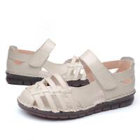 妈妈鞋子女夏平底胖脚宽脚中老年女鞋舒适软底中年夏季皮凉鞋