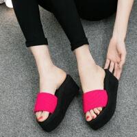 高跟拖鞋女夏季一字凉拖厚底坡跟中跟沙滩泡沫底学生外穿新款时尚 7CM后跟 红色