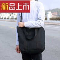 韩简约学生帆布包男女韩版休闲单肩斜挎包手提差包 黑色 现货