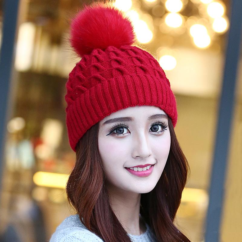 冬季帽子女冬天兔毛线帽韩版潮女士加绒保暖帽秋冬可爱针织护耳帽 兔毛针织 加绒保暖
