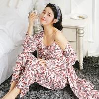 睡衣女夏季冰丝性感吊带睡裙三件套装日式和服薄款休闲春秋家居服睡裙 白色 2098