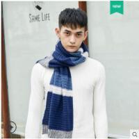 拼接时尚针织毛线围脖学生简约加厚围巾韩版围巾男休闲保暖