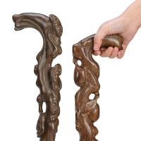 老人实木质根雕手杖 老年人寿桃拐杖雕刻黑檀红木鸡翅木拐杖拐棍