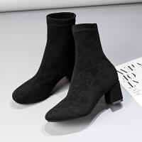 中筒马丁靴女英伦风裸靴子女短靴高跟女士工装靴粗跟女靴春秋单靴