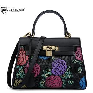 朱尔牛皮包女2017新款凯莉女包时尚大气花朵大容量锁扣压花手提包
