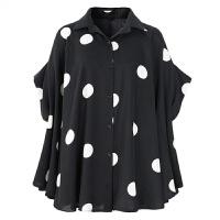 夏装女20*码蝙蝠袖衬衫波点雪纺衬衣斗篷白上衣中长