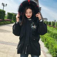 欧货羽绒服女短款2018新款白鸭绒女装欧洲站冬款时尚派克服外套潮 黑色