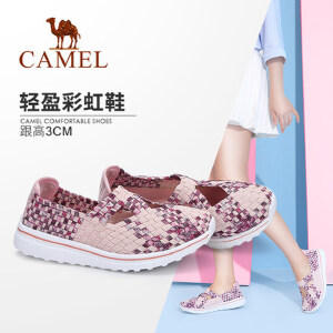 Camel/骆驼女鞋 2018春季新款 透气轻便懒人鞋套脚编织休闲鞋女
