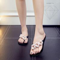 山茶花水晶沙滩凉拖鞋夹脚人字拖女夏季韩版时尚平底学生外穿防滑