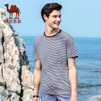 骆驼男装 夏季新款时尚青年圆领撞色条纹商务休闲短袖T恤男