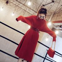 秋冬装女2018新款修身中长款过膝高领加厚女毛衣裙针织红色连衣裙 黑色 均码