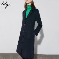 Lily春秋新款女装纯色全羊毛西装领大衣毛呢外套118400F1554