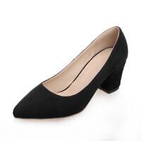O'SHELL欧希尔春季上新009-D6-1韩版磨砂绒面坡跟女士单鞋