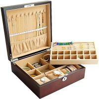 首饰盒双层木质实木贴面饰品收纳盒珠宝箱戒指项链手镯藏