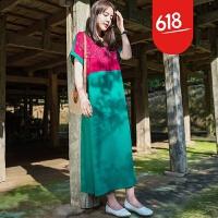 原创设计棉麻女装复古连衣裙2018夏季新款刺绣拼接长裙GH13601 均码