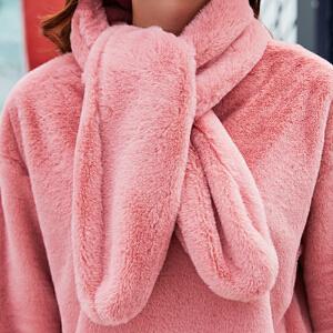 卡茗语双层加厚羊剪绒卫衣小兔毛圆领加绒外套送小兔毛围巾
