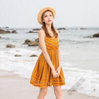 雪纺连衣裙巴厘岛度假沙滩裙女夏季修身露背海边吊带短裙