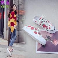 女鞋夏季2019春款帆布鞋学生半拖无后跟懒人一脚蹬韩版百搭布鞋单