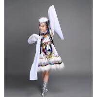 儿童藏族演出服 小学生幼儿园表演水袖舞蹈服装蒙古女童走秀服装 米白色 白色水袖