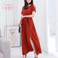 红色连衣裙短袖 2017夏季新款女装夏天气质高腰 A字修身长裙时尚