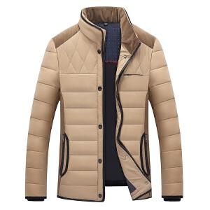 战地吉普男士保暖羽绒服立领简约拼色中年羽绒服男式短款修身加厚商务羽绒衣外套