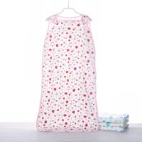 御目 婴儿睡袋 春夏季纯棉卡通印花儿童四层纱布背心式睡衣宝宝睡袋防踢被儿童床品家居床上用品