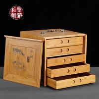 五层典雅茶叶盒木质便携式普洱茶分茶盒子家用竹制茶饼盒密封空盒