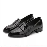 小码单鞋31 新款中跟粗跟女鞋尖头英伦小皮鞋码工作鞋百搭 黑色