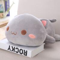 【人气宝贝】仿真3D猫咪抱枕公仔毛绒玩具抱着睡觉的娃娃喵星人搞怪床头靠垫【】