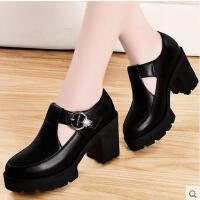 盾狐高跟鞋女粗跟春季新款韩版百搭学生黑色工作鞋皮鞋女英伦单鞋793