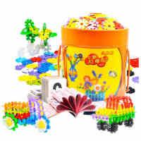 四喜人大号加厚雪花片1000片 儿童益智拼图桶装拼插积木玩具3-6岁