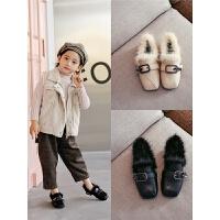 女童棉小公主加绒皮鞋豆豆儿童女孩高跟冬季毛毛鞋