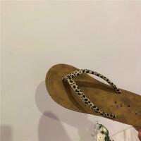 豹纹人字拖鞋女夏外穿2019新款韩版学生沙滩鞋休闲平底鞋子潮