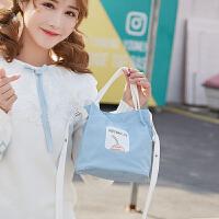 单肩斜挎包女帆布包小包包少女心森系手提袋可爱简约时尚
