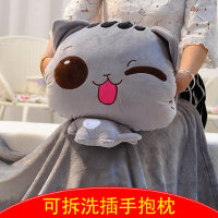拆洗暖手抱枕可插手毛绒玩具可爱猫公仔娃娃玩偶冬季手捂枕三合一