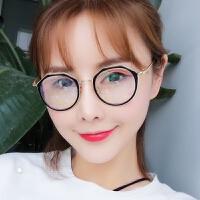 复古近视眼镜框文艺平光镜学生眼镜架女潮圆框圆脸防辐射