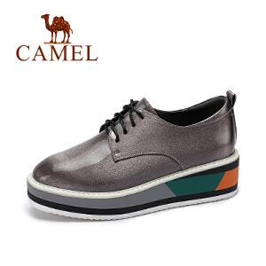 camel/骆驼女鞋  秋季新款 时尚亮面厚底松糕鞋女系带浅口内增高单鞋