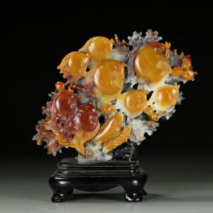 寿山巧色杜陵石 精雕海底世界摆件 jd3248